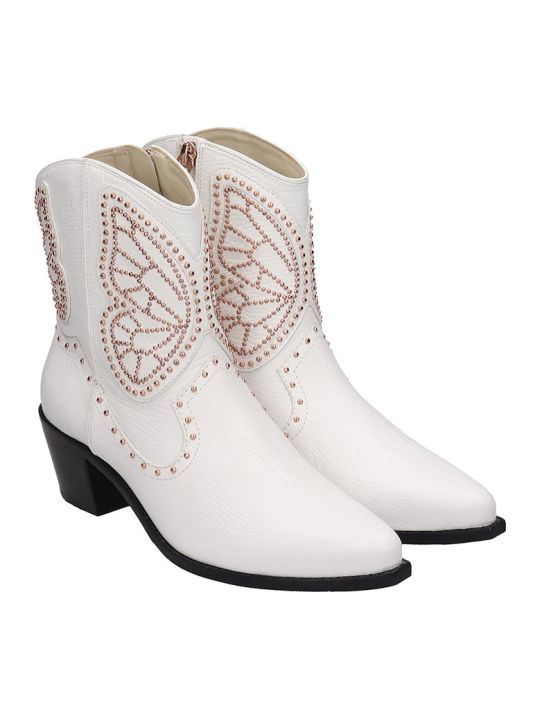 Sophia Webster Shelby Low Heels Ankle Boots In White Leather