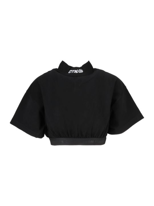 HERON PRESTON Elastic Band Cropped T-shirt