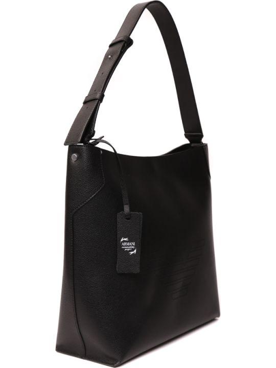 Emporio Armani Black Leather Shoulder Bag