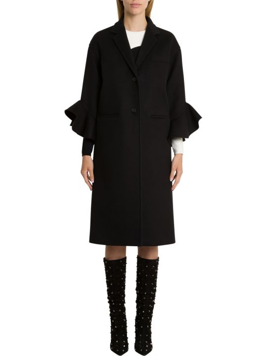 Valentino Oversized Coart With Frilled Sleeve