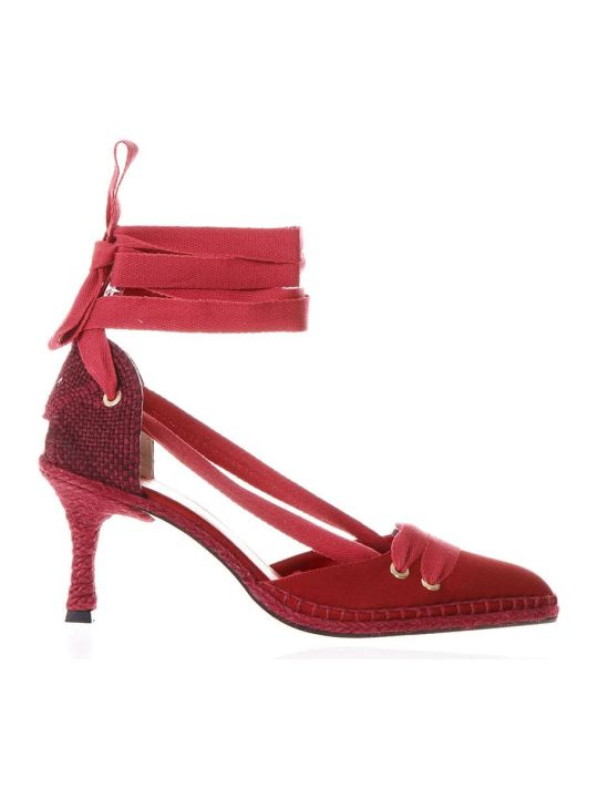 Castañer by Manolo Blahnik Red Satin And Juta Espadrilles With Heels