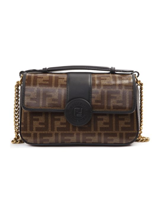 Fendi Brown Double Small Leather & Cotton Bag