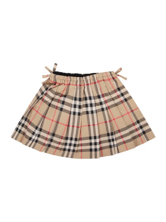 Burberry Beige Babygirl Skirt With Check