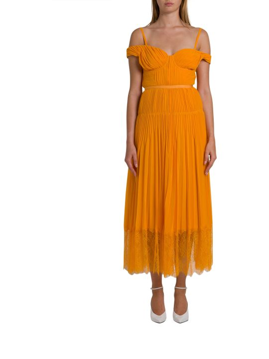 self-portrait Plated Chiffon Midi Dress