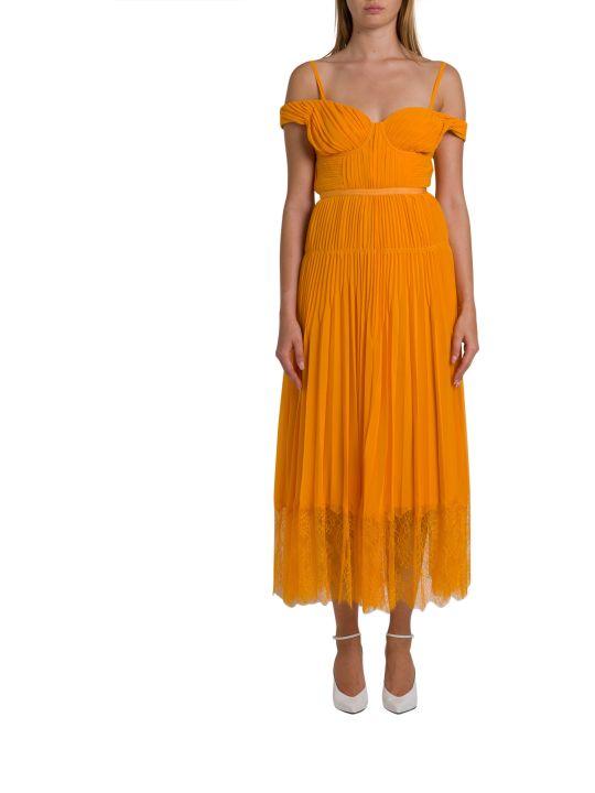 self-portrait Plated Chiffon Midi Dress