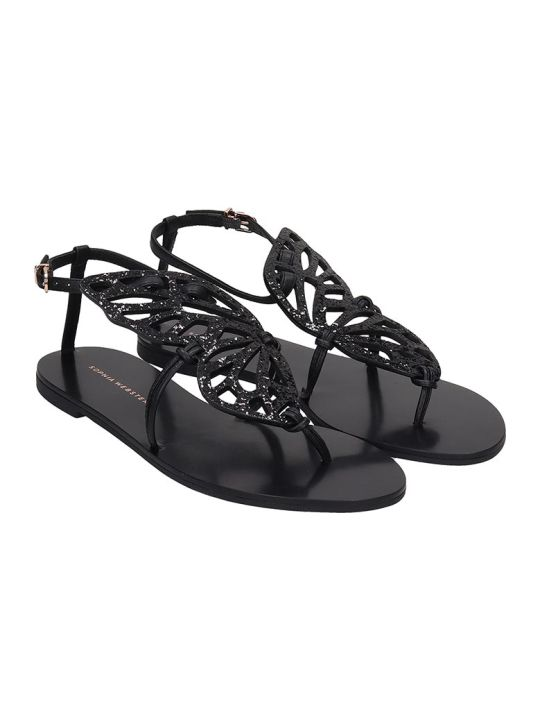 Sophia Webster Butterfly Flats In Black Leather