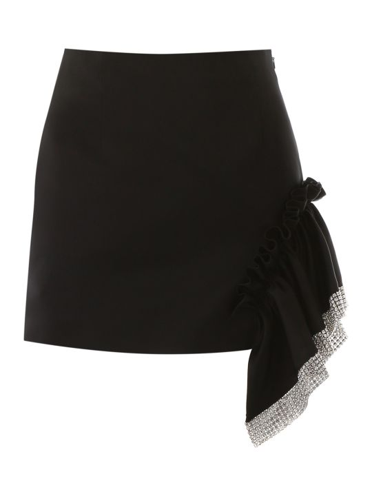 AREA Mini Skirt With Ruffle And Crystals