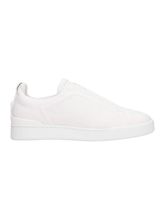Ermenegildo Zegna Slip On Triple Stick White Leather Sneakers