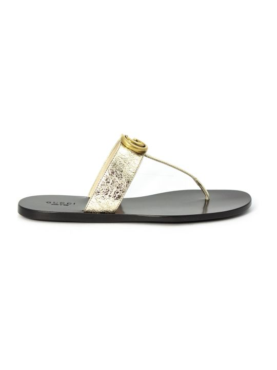 Gucci Metallic Gold Leather Thong Sandal