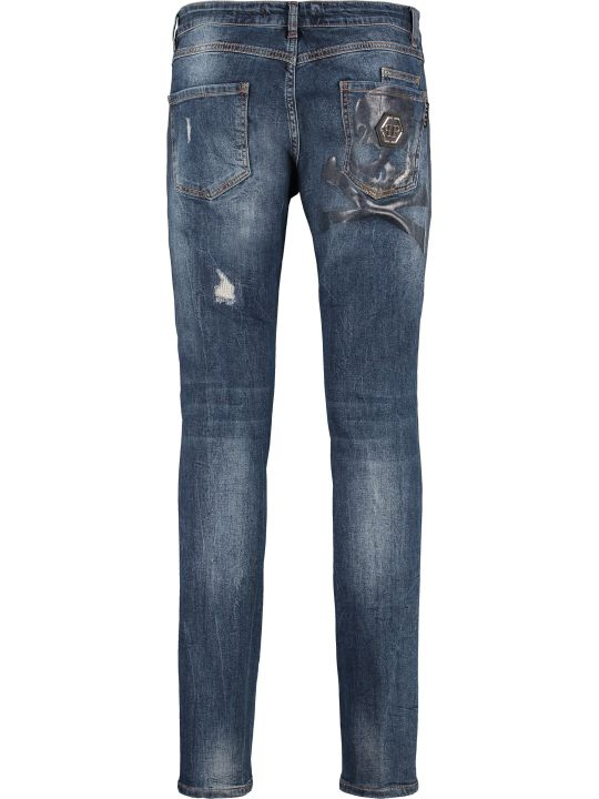Philipp Plein Cut Skull Stretch Jeans