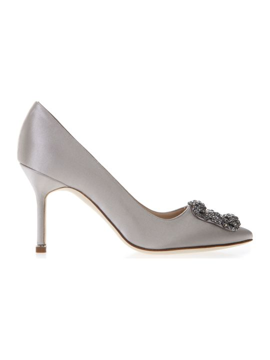 Manolo Blahnik Hangisi Grey Satin Pumps