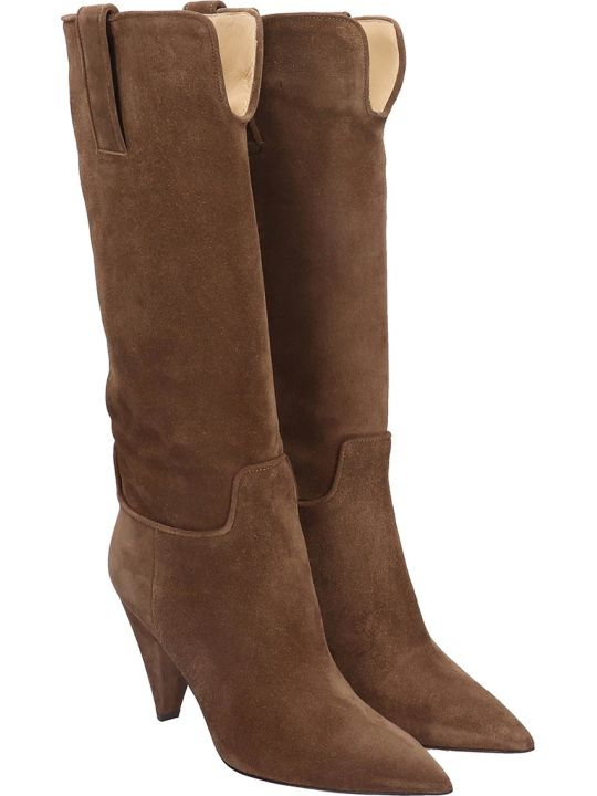 Fabio Rusconi High Heels Boots In Brown Suede