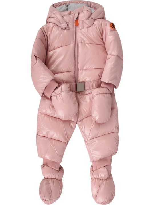 Save the Duck Pink Babygirl Puff Overall With Iconic Logo