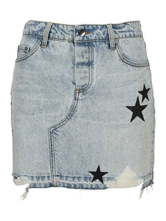 AMIRI Star Patches Denim Skirt