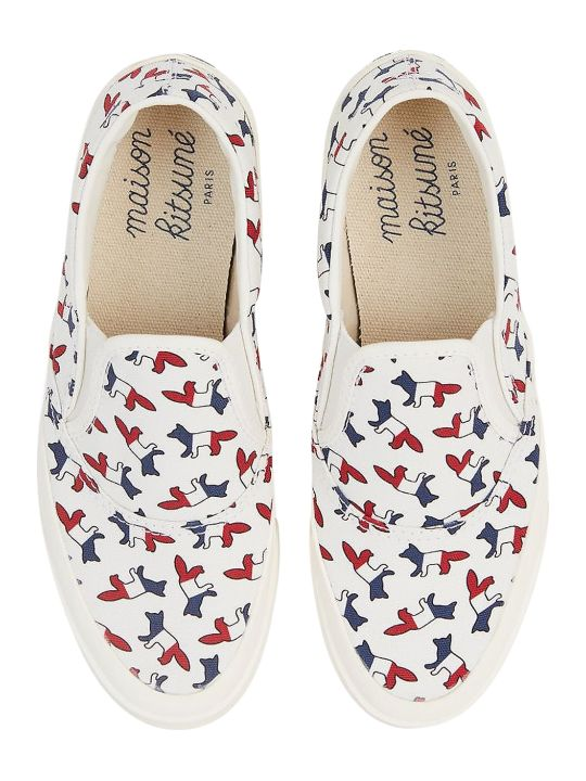 Maison Kitsuné All-over Tricolor Fox Slip-on Sneakers