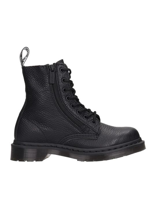 Dr. Martens Pascal W-zip Combat Boots In Black Leather