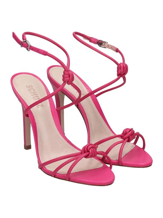 Schutz Sandals In Rose-pink Leather
