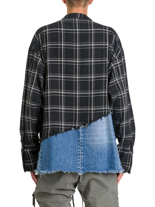 Greg Lauren Checked Shirt With Denim Lower Part