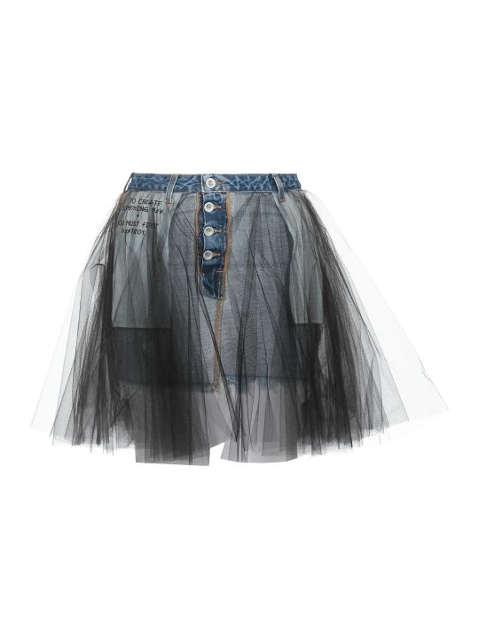 Ben Taverniti Unravel Project Cotton Jeans And Mash Skirt