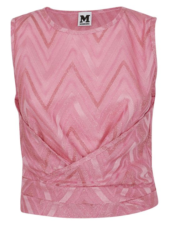M Missoni Chevron Ruched Top