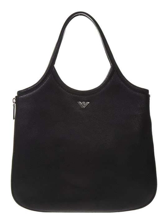 Emporio Armani Hobo Black Leather Tote With Zip Around