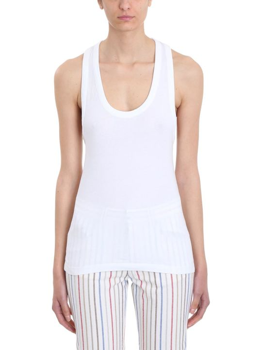 Sonia Rykiel Racer White Cotton Top