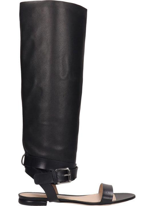 Dei Mille Black Leather Slave Sandals