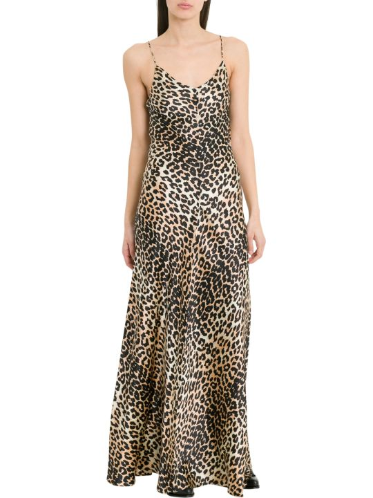 Ganni Blakely Leopard Printed Long Dress