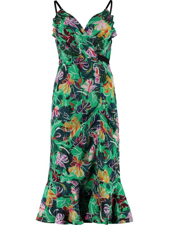Saloni Jennie Printed Crêpe-de-chine Dress