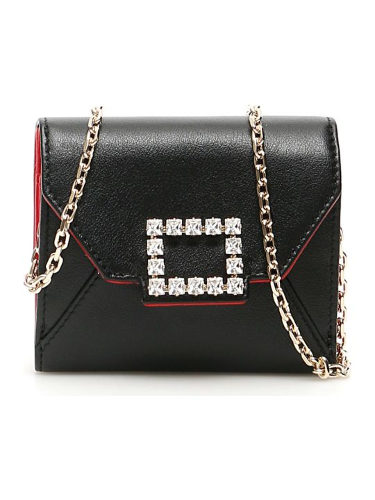 Roger Vivier Tres Vivier Strass Buckle Chain Wallet