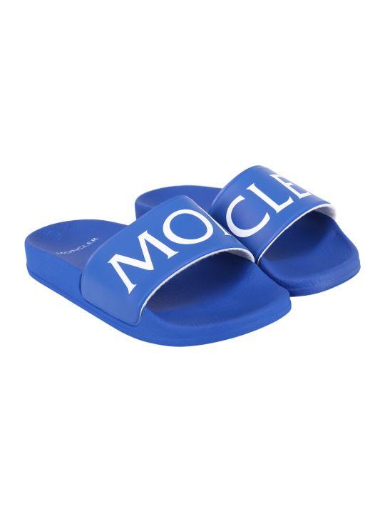 Moncler Blue Kids Sandals With Logo