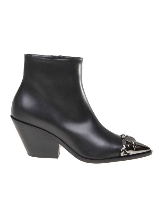 Casadei Agyness Leather Ankle Boot In Black Color