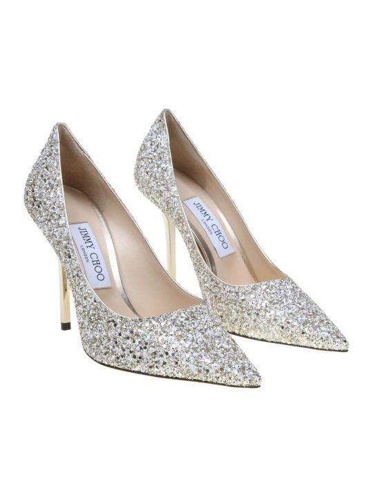 Jimmy Choo Decollete 'love 100 In Glittery Fabric Sand Color