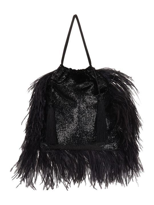 ATTICO Black Tassel Pouch Bag