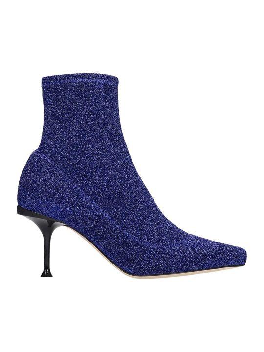 Sergio Rossi Milano Ankle Boots In Blue Glitter