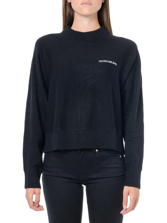 Calvin Klein Jeans Black Wool-cotton Blend Jumper