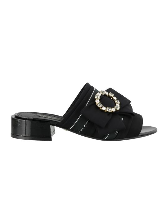 Dolce & Gabbana Charmeuse Slide With Bow And Crystals