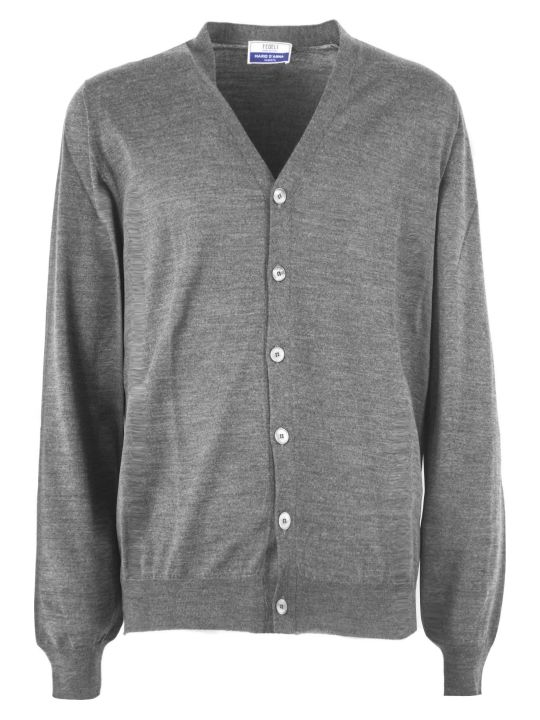Fedeli Grey Virgin Wool Cardigan