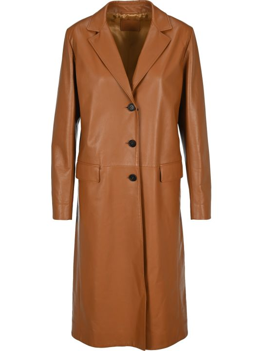 Prada Single Breast Leather Coat