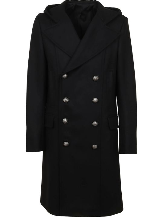 Balmain Wool Cashmere Hooded Coat
