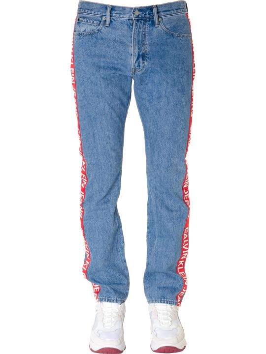 Calvin Klein Logo Stripe Jeans In Light Blue Denim