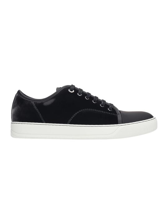 Lanvin Low Top  Sneakers In Grey Velvet