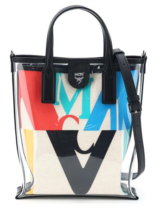 MCM Mini Tpu And Canvas Tote Bag