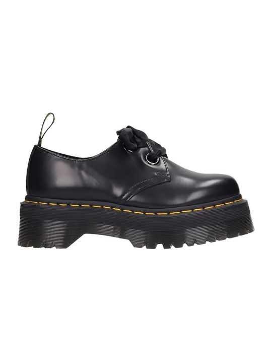 Dr. Martens Holly Lace Up Shoes In Black Leather