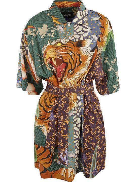 Dsquared2 Tiger Front Print Dress