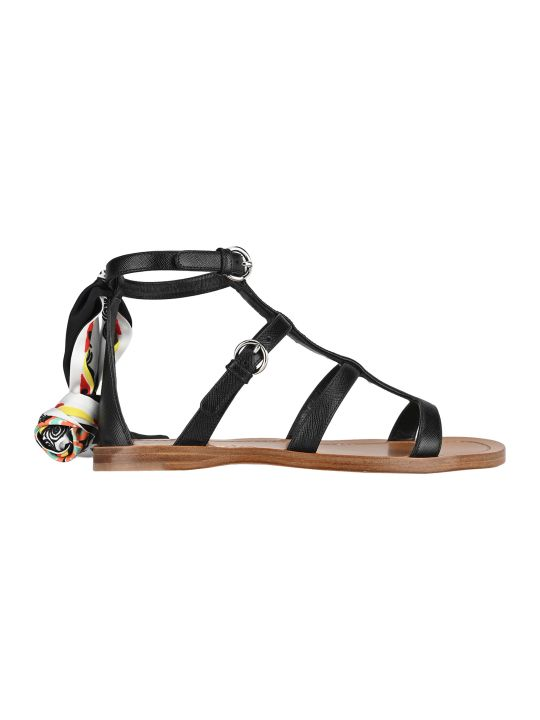 Prada Saffiano Leather Sandals