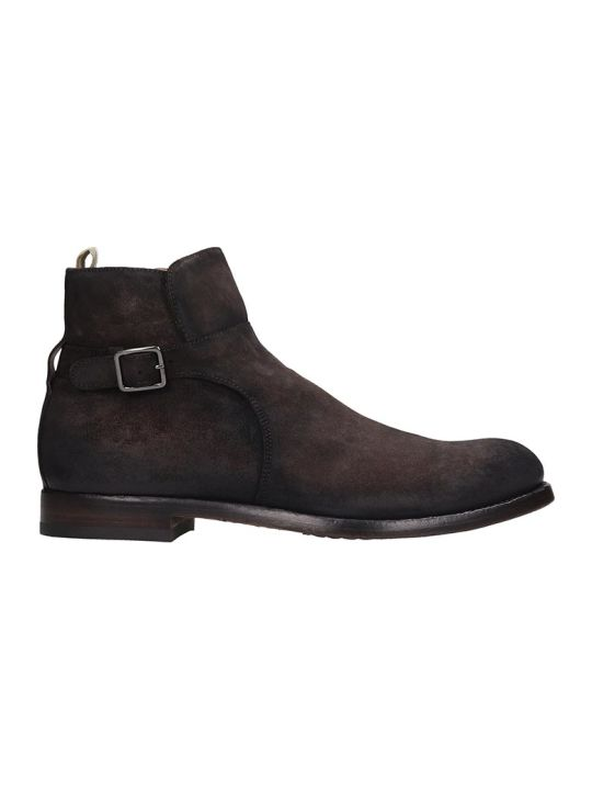 Officine Creative Tempus Ankle Boots In Brown Suede