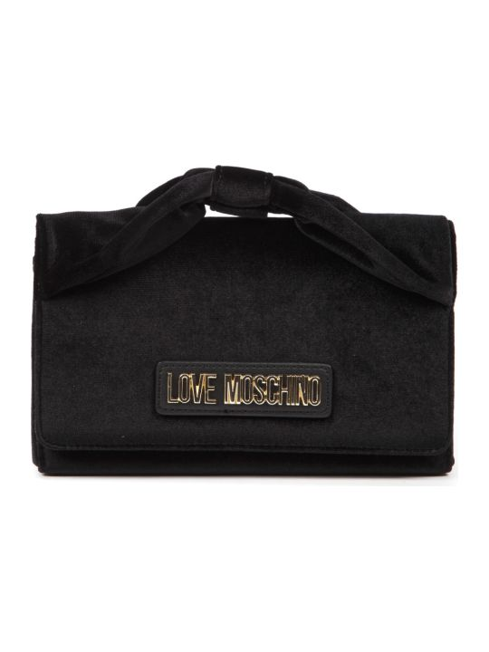 Love Moschino Black Velvet Shoulder Bag With Logo