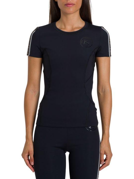 Fendi T-shirt Girocollo In Neoprene Tecnico A Maniche Corte Con Ff Banda Logata Sul Lato