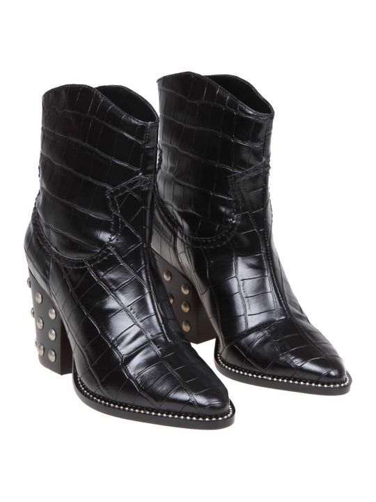 Schutz Leather Boot In Black Leather